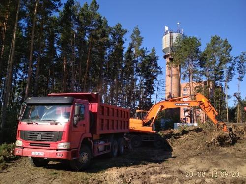 Расчистка участка  в Кудряшах под строительство Торгового Центра